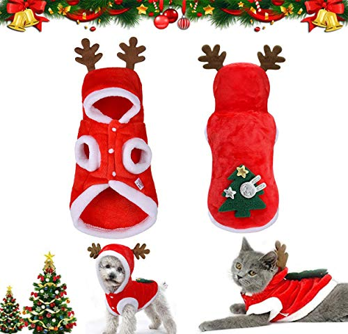 QIMMU Ropa navideña para Perro,Ropa de Navidad para Perros,Pet Santa Suit Disfraz de Perro Lindo Reno Disfraz De Gato Abrigo de Invierno cálido para Mascotas