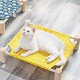lulalula Hamaca para Gato, Cama para Gatos Desmontable, Cuna elevada de Madera, Hamaca para Gatos, Cama para Interiores y Exteriores