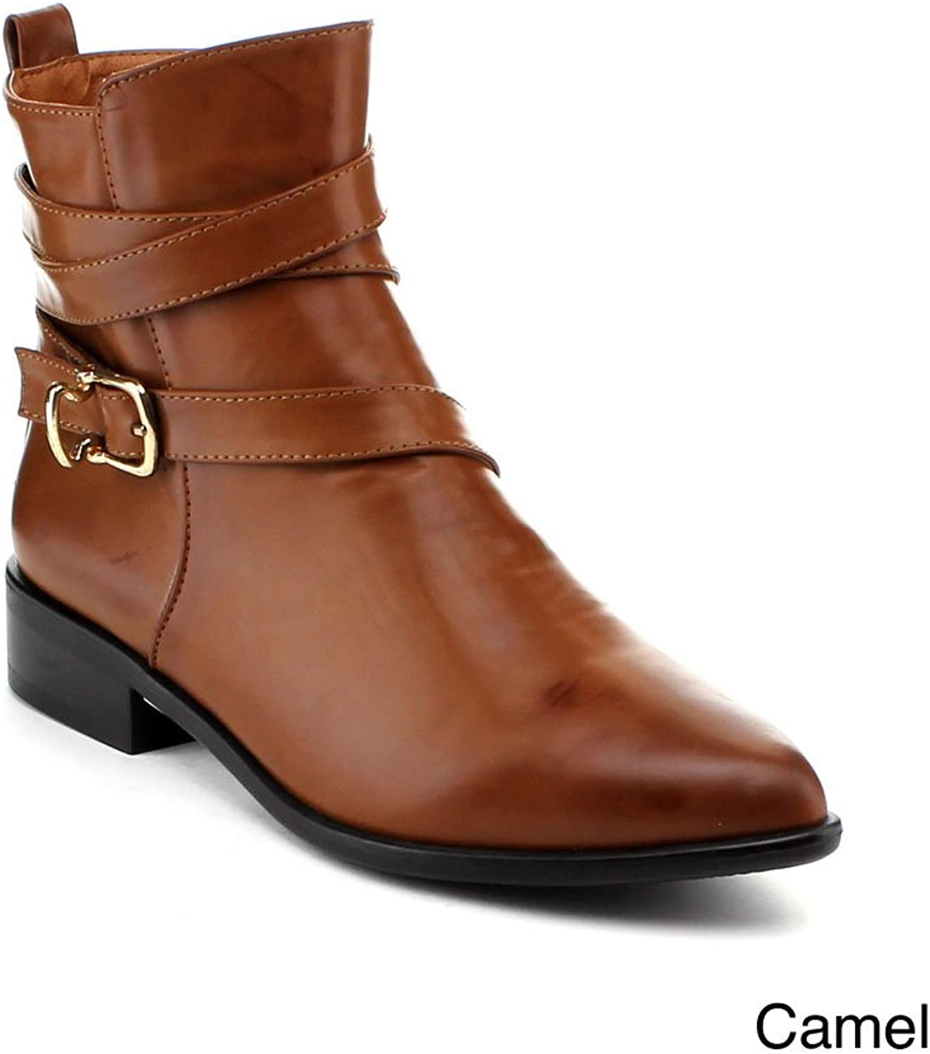 Reneeze Lucia-01 Women Fashion Pointy Toe Flat Ankle Boot With Wrapped Strap