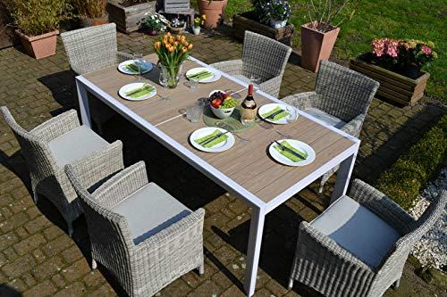 bomey Sitzgruppe Madrid XL mit Neapel Sesseln I 9-teilige Garnitur I Rattan-Sessel Set bestehend aus acht Sesseln in Grau und Polstern in Beige I Aufziehbarer Tisch für Garten Terrasse Wintergarten