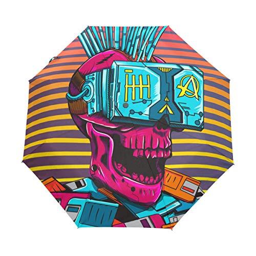 SUHETI Regenschirm Taschenschirm,Cyberpunk Diskette der virtuellen Realität des Cyber Schädels,Auf Zu Automatik,windsicher,stabil