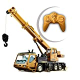 Lotee RC Trucks Crane Model Engineering Car Remote Control Stunt Toy Car Stunt Off-Road Car Children Birthday Xmas Gift Boys RTR Movable Latticed Boom Hook Mechanical Sound (Size : 1 Battery Pack)