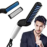 Trivazone® Beard hair straightener for Men, Ionic Comb with Anti-Scald Feature, Anti Static, Efficient and Quick Beard Straightener and Hair Styler Electric Modeling Straightening Comb