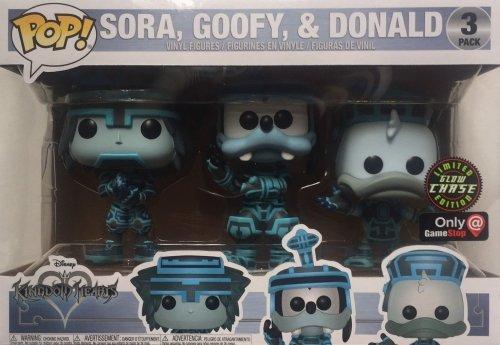 Funko Pop Disney Kingdom Hearts - Pack de 3 exclusivités Sora Goofy Donald Tron Glow-in-the-Dark Chase