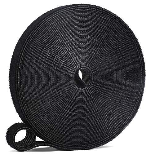LEOBRO マジック結束バンド 面ファスナー 10mx15mm超ロング ブラック マジックバンド 結束テープ ケーブルタイ 繰り返し可能 配線まとめ ケーブル固定 コード整理