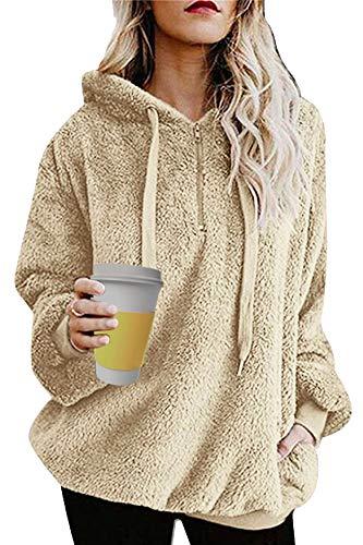 Umipubo Damen-Sweatshirt, flauschig, lockerer Samt, lange Ärmel, Teddy-Fleece, Kapuzenpullover mit Taschen, Kapuzenpullover mit Kordelzug Gr. XX-Large, khaki