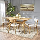 Nerron Mid Century Natural Oak Finished 5 Piece Wood Dining Set
