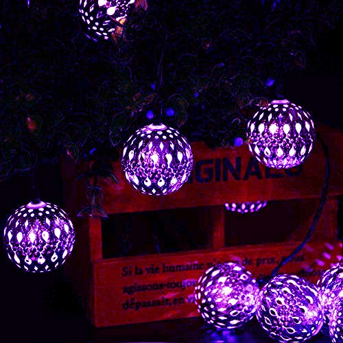 Silber Marokkanischen Orb Schnurlichter,KINGCOO Wasserdichte 20LED Metall Goble Laterne Solar Lichterkette mit 8 Modus Ambientebeleuchtung für Garten Hochzeitsfest Weihnachtsdekorationen (Lila)