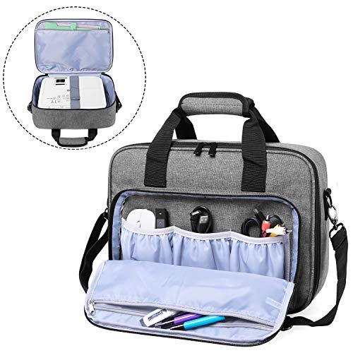 Luxja Projector Case,Projector Bag with Accessories Storage Pockets (Compatible with Most Major Projectors),Medium(13.75 x 10.5 x 4.5 Inches), Gray