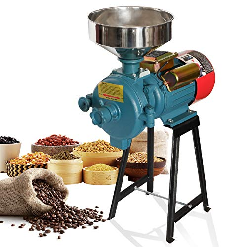 H&ZT 110V Electric Grinder Machine, 3000W Flour Mill Cereals Grinder, Milling Rice Corn Grain Coffee Wheat Feed, Wet Dry Cereals Grinder W/Funnel (red-dry)