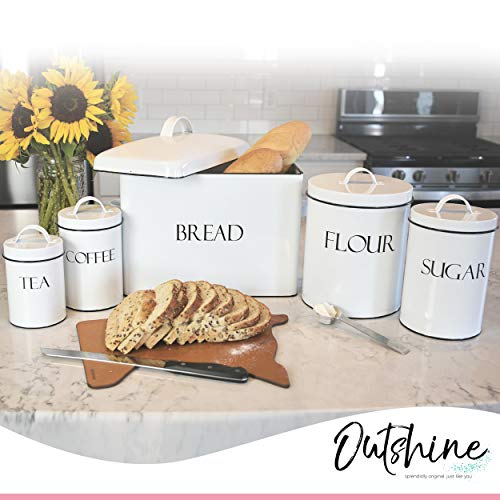 Outshine White Farmhouse Nesting Kitchen Canisters (Set of 4) | Kitchen Canister Set Perfect for Flour, Coffee, Tea, Sugar | Coffee Bar Accessories | Gift for Housewarming, Birthday, Wedding