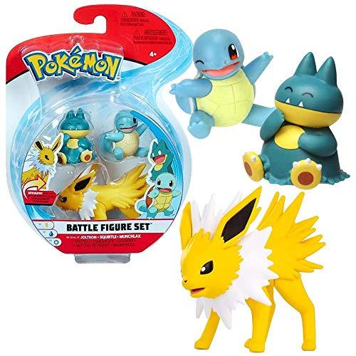 Auswahl Battle Figuren | 3er Set | Pokemon | Action Spielfiguren zum Sammeln, Spielfigur:Blitza. Schiggy & Mampfaxo