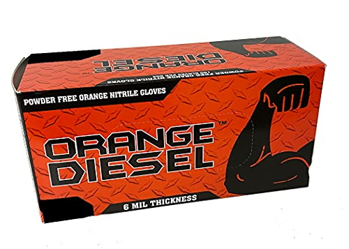 The Orange Diesel, Orange Nitrile Disposable Gloves, Powder Free, 6 Mil, Diamond Textured, Beaded Cuff, Sizes M-XXL, Sold by Box (Size Large Only)