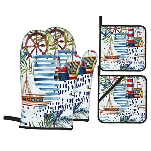Juego de 4 Guantes y Porta ollas para Horno Resistentes al Calor Verano Playa de Patrones sin Fisuras. Velero Acuarela para Hornear en la Cocina,microondas,Barbacoa