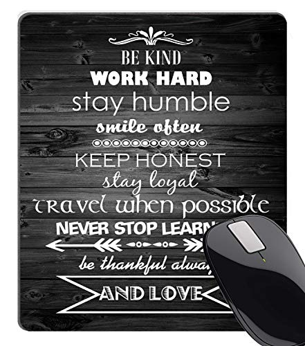 Wknoon Inspirational Positive Quote Vintage Black Old Wood Mouse Pad, Be Kind Work Hard Stay Humble Smile Ofen Quotes Large Mouse Pads Custom