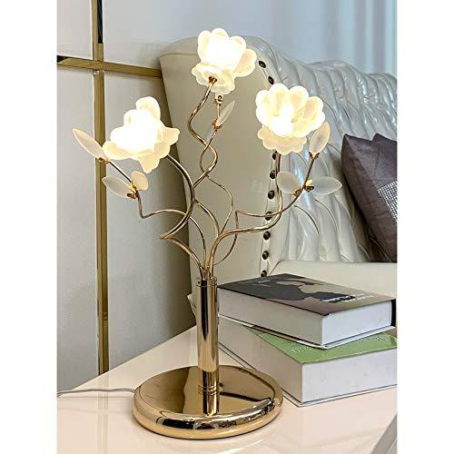 Lampara Mesilla Lámpara de mesa de cristal de lujo europeo de noche dormitorio flor decoración de la lámpara de la sala llevada moderna lámpara de mesa, 18.9'x 7.1' Lámparas de escritorio