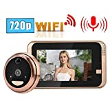 Tosuny Video Doorbell, 4.3in 720P HD LCD Digital Peephole Door Camera Viewer Wireless WiFi Video Doorbell Intercome with IR Night Vision/PIR Motion Detection for Home Security