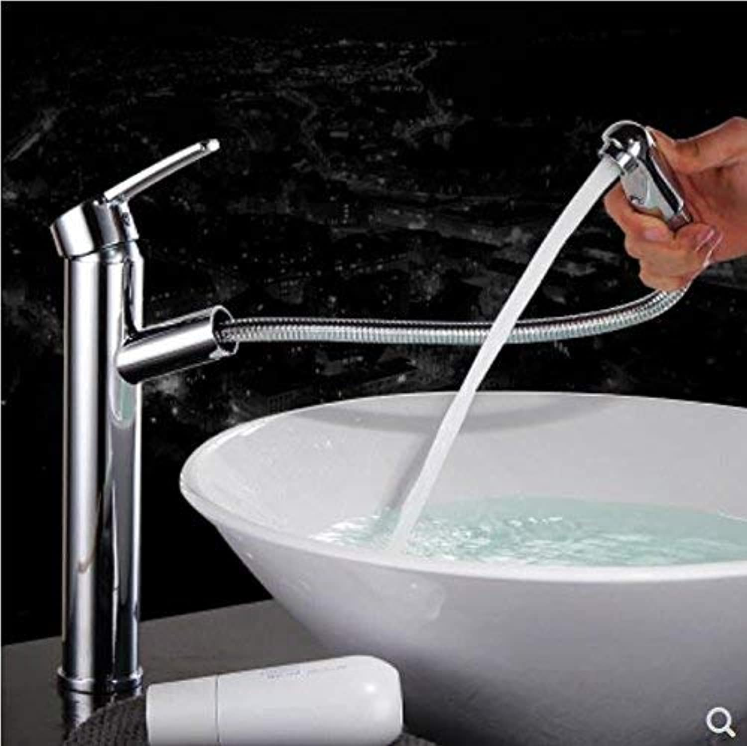 Oudan All Copper Pulling Faucet Stretchable Expansion and Contraction Hot and Cold Shampoo Art Chrome Basin Chrome Bath Head Ceramic Plate Spool Chrome Plating,A (color   B, Size   -)