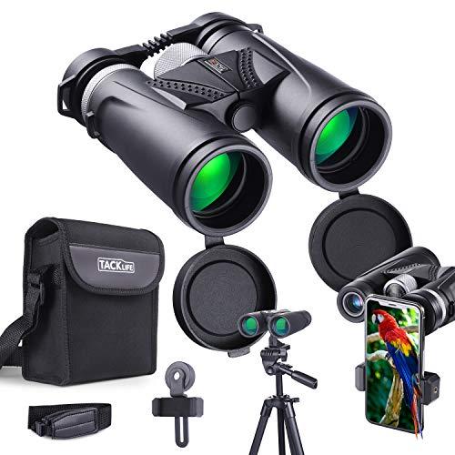 Binoculares Profesionales,TACKLIFE MBC02 10 x 42,Lentes Multicapa Prisma BAK-4, Revestimiento Verde 97M / 1000M, Adecuado para Viajes al Aire Libre, observación de Aves, Adaptador para Smartphone