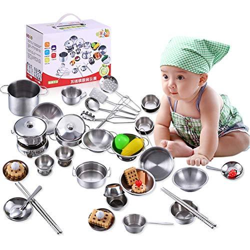 Küchenspielzeug für Kinder, Jungen und Mädchen Küchenspielzeug Kochgeschirr aus Edelstahl Kochgeschirr Pfannenspielzeug-Set, ein tolles Geschenk(25Pcs)