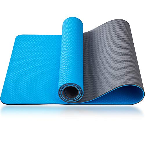 """Asvin TPE Yoga Mat 1/4 Inch Thick for Women, High Density Fitness Exercise Mat, Non-Slip, Anti-Tear Workout Mat with Strap for Home, Gym, Pilates and Floor Exercises, 68""""x24"""""""
