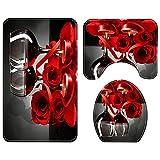 Cmstop Tappetino da bagno 3 pezzi/Set Rose Red Wine Modello Stampato Copriwater Tappetino antiscivolo Tappetino per bagno assorbente Tappetino da bagno Tappeto