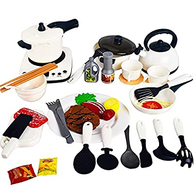 40PCS Play Kitchen Set for Kids, Pretend Cooking Kit with Spray Pressure Pot and Electronic Induction Cooktop,Cooking Utensils,Toy Cutlery,Cut Play Food,Play Kitchen Toys for Girls, Boys