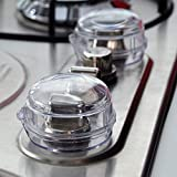 JOM Clear Stove Knob Safety Covers - 6 Pack - Child Safety Guards. Child Proof Lock for Oven/Stove Top/Gas Range - Baby/Toddler Kitchen Safety Guard - Check Dimensions