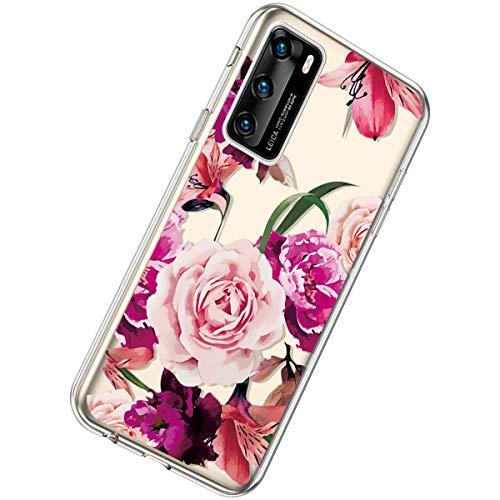 Herbests Kompatibel mit Huawei P40 Hülle Silikon Weich TPU Handyhülle Durchsichtige Schutzhülle Niedlich Muster Transparent Ultradünn Kristall Klar Handyhülle,Rose Blume