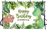 新しい恐竜の男の子の誕生日の写真スタジオの背景サファリジャングルワイルドグリーンパームの葉お誕生日おめでとうパーティーの装飾バナーの背景写真7x5フィート