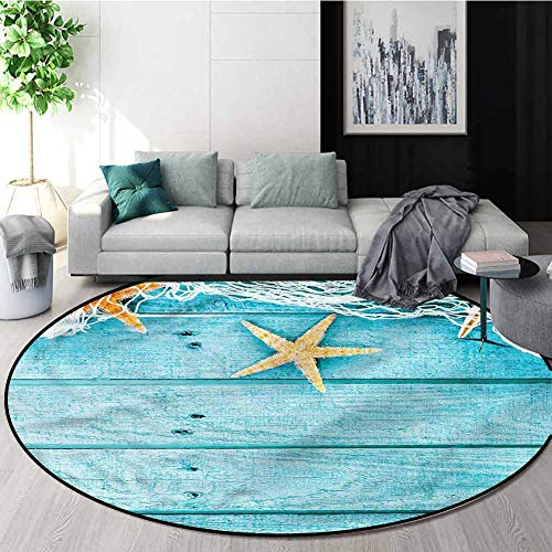 Best Buy! Starfish Round Rug Kid Carpet,Rustic Fish Net Non-Slip Living Room Soft Floor Mat Diameter...