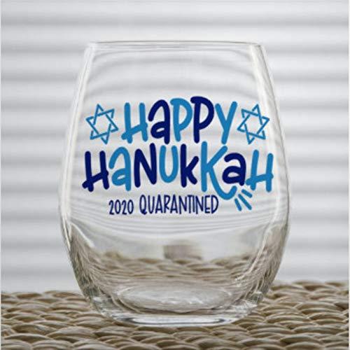 Happy Hanukkah 2020 Quarantined Funny Stemless Wine Glass custom Whiskey Glass custom Shot Glass,15 oz