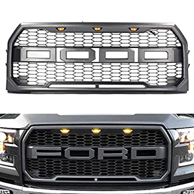 Grille for F150 2015 2016 2017, KotBot Front Grill Replacement with Amber LED Light Raptor Style Grill Kit, grey