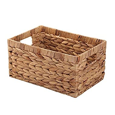 Woven Natural Water hyacinth Rectangular Storage Container Box with inside Handle,Kingwillow.( PBHLC) (Medium)