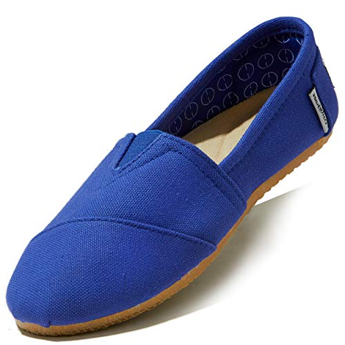 DailyShoes Classic Flat Slip-On Casual Shoes, Slip-On Ballet Comfort Walking Classic Round Toe Shoes, Cobalt Linen, 5.5 B(M) US