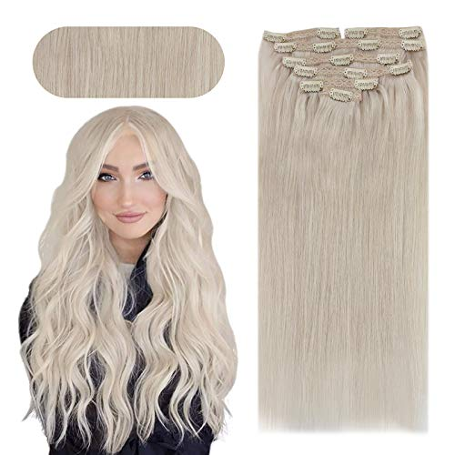 Sunny Clip in Blonde Extensions 18 inch #60 White Blonde Clip in Extensions Human Hair Double Weft Clip in Hair Extensions Blonde Silky Straight 7pcs 120g