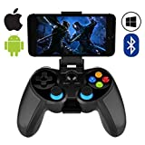 QCHEA Mobiler Gamecontroller, Wireless 4.0 Bluetooth Gamepad mit Joystick, Multimedia Gamecontroller Kompatibel mit iOS Android Handy PC Android TV Box Ohne Rooting