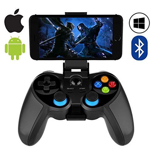 QCHEA Controlador de Juegos móvil, Wireless 4.0 Bluetooth Gamepad con Joystick, Controlador de Juegos Multimedia Compatible con iOS Android Teléfono móvil PC Android TV Caja sin enraizamiento
