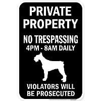 PRIVATE PROPERTY ブラックマグネットサイン:ジャイアントシュナウザー シルエット 英語 私有地 無断立入禁止