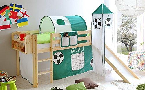 lifestyle4living Hochbett für Kinder in grün-weiß-braun mit Rutsche, Turm und Vorhang im Fussball Motiv | Spielbett aus Kiefer Massivholz mit Einer Liegefläche 90x200