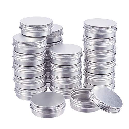 BENECREAT 30 Pots de bidon en Aluminium de 30 ML, boîtes de bidon en Aluminium Rondes, Contenant pour Produits cosmétiques avec Couvercle à Bouchon à Visser, pour Bricolage-Platine