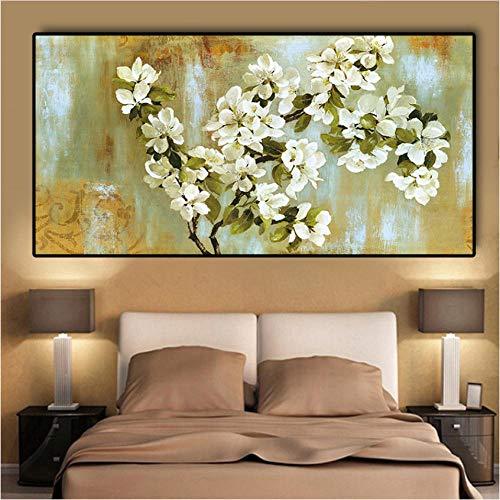 EDGIFT2 Flor de Almendro floreciente Paisaje impresionista Pintura al óleo sobre Lienzo Carteles e Impresiones Arte de Pared Imagen para Sala de estar60x180cm sin Marco