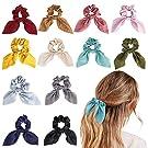 URAQT Hair Bands, 12 Pcs Hair Bobbles for Women, Colorful Hair Scrunchy Bowknot Hair Ties Elastic Ponytail Holder, Hair Accessory for Women or Girls