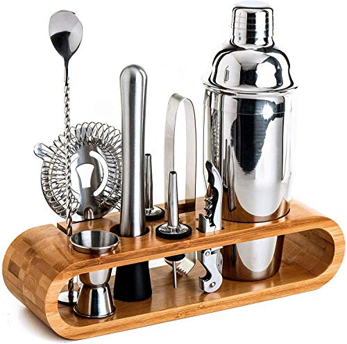 Bartender Kit: 11-Piece Bar Tool Set with Stylish Bamboo Stand - Perfect Home Bartending Kit and Martini Cocktail Shaker Set for an Awesome Drink Mixing Experience - Exclusive Recipes Bonus
