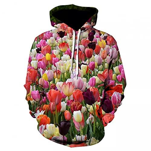Unisexo Sudaderas con Capucha impresión Roses Flowers Blooming Hoodie Primavera y otoño suéter de Bolsillo de Manga Larga Hombres y Mujeres Sudadera de Moda Casual Tops-3XL