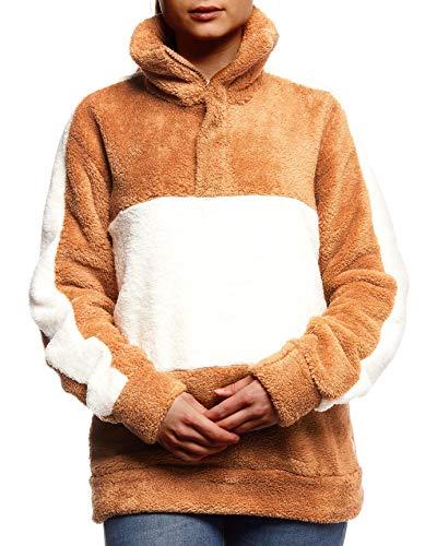 Leif Nelson dames sweatshirt teddy fleece pullover met opstaande kraag bovenstuk trui lange mouwen shirt voor vrouwen overgangsjas hoodie LN02102D