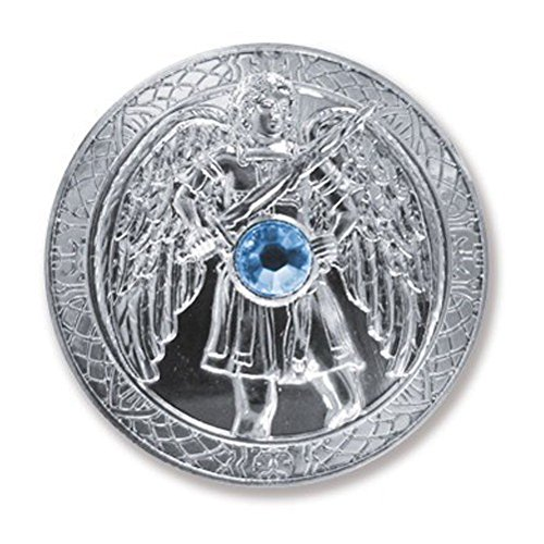 Glücksmünze Schutzengel Engeltaler Erzengel Michael, Ø 27 mm Taler Silber mit Swarovski Elements, Glücksbringer Talisman Schutzsymbol Glückstaler