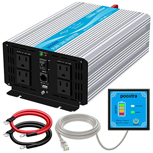pooxtra 1000 watt Pure Sine Wave Inverter DC 12V to 110V Power Inverter with 4 AC Outlets,2.1A USB Ports and 16.4ft Remote Control