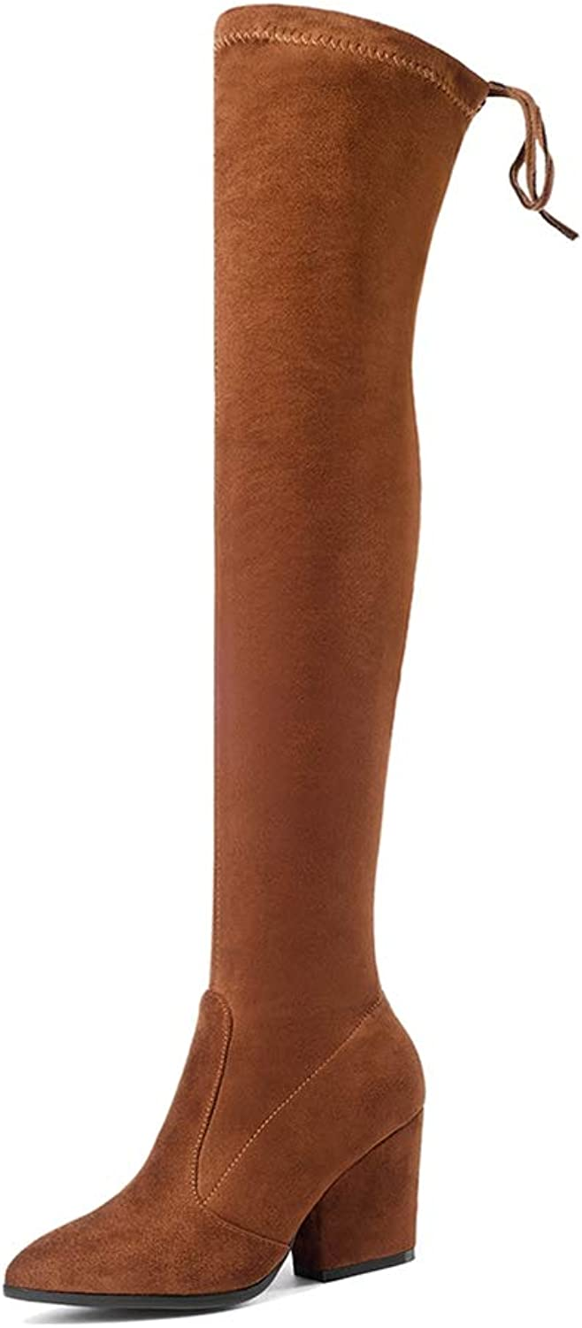 Hoxekle Woman Over The Knee Boots Slip On Square Mid Heel Round Toe Sexy Slim Ladies Winter Fashion Thigh High shoes