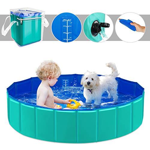 YAOBLUESEA Hunde Planschbecken, 120x30CM PVC Hundepool Doggy Pool Faltbarer Badewanne Pool-Mittel/Grün